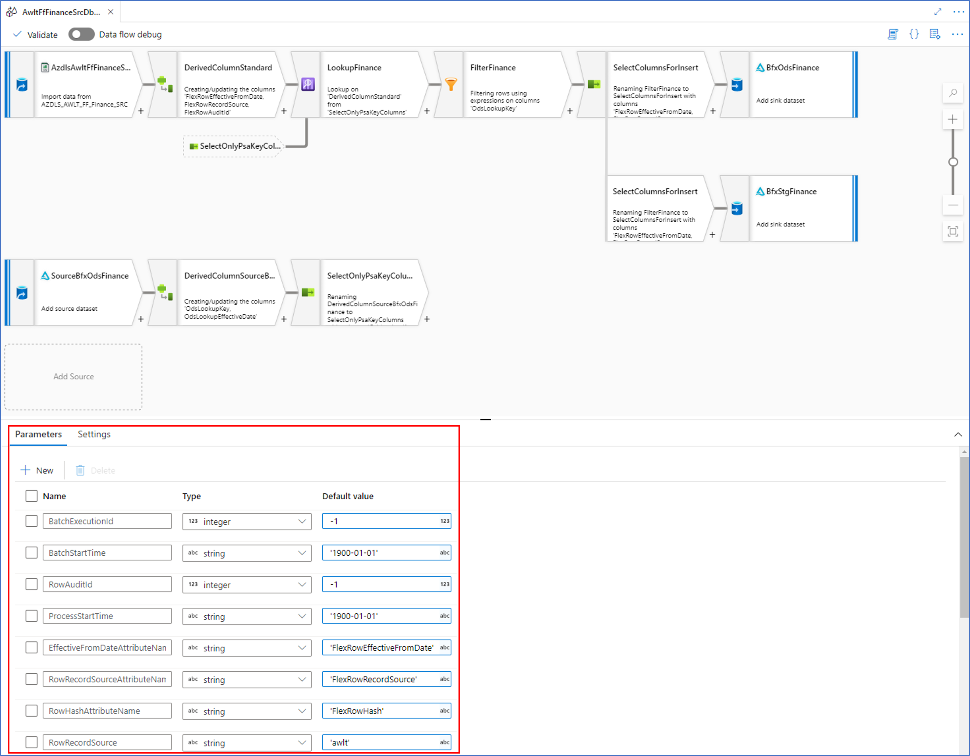 Data Flow Mapping Parameters